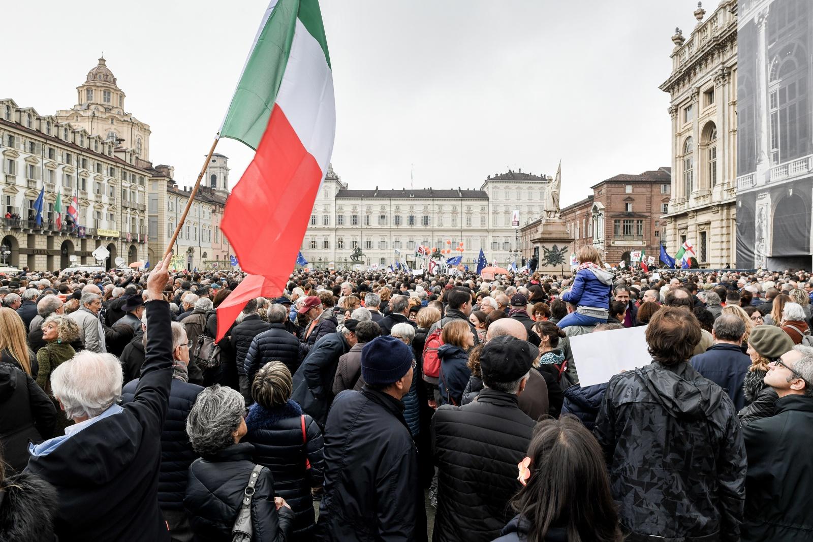 Turin, Italy (2018). Popular event to build Turin-Lyon high-speed railway line
